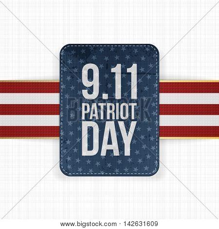 Patriot Day festive paper Label. Vector Illustration