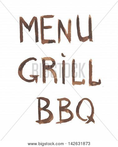 Watercolor bbq grill menu. Watercolor logo for grill cafe, restaurant. BBQ lunch, dinner time.