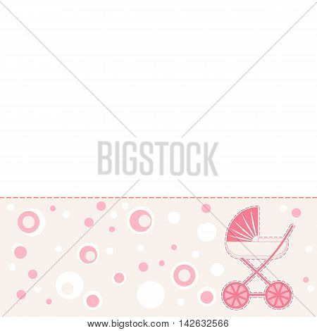 Baby girl  abstract background with pram design elements.  Vector illustration template design  for brochure, booklet, poster.