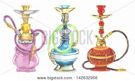 Watercolor hookah set. Eastern exotic smoking pipe with turkish ornament. Beautiful art for decoration.