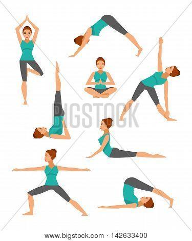 Vector collection of basic yoga asanas. Healthy lifestyle.