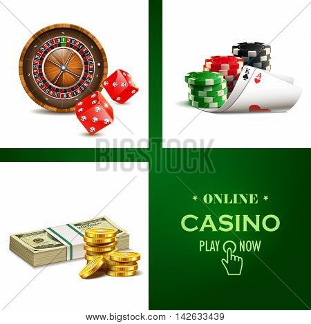 Casino set with realistic cards, dice, roulette and money.