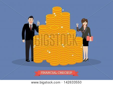 Business woman holding stethoscope for financial checkup. Business concept