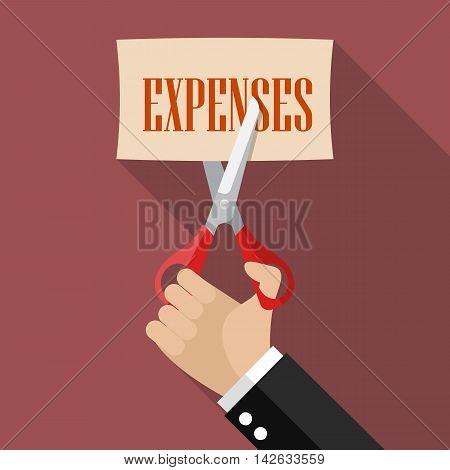 Businessman cutting expenses paper. Business concept vector illustration