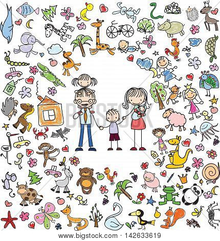 Vector cute children's doodle of happy family