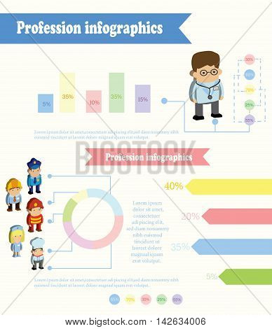 Vector cute profession Infographic , Doctor profession