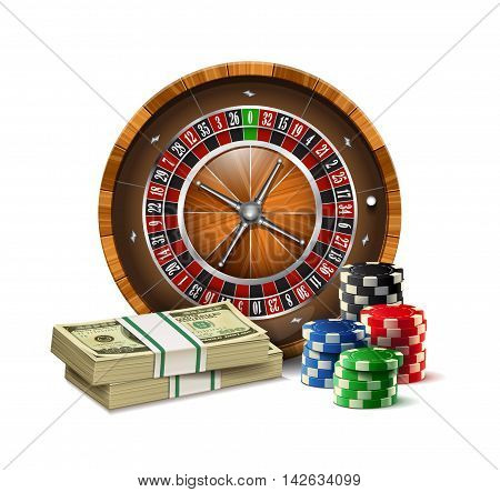 Casino elements roulette,chips and stacks of dollars isolated on a white background.
