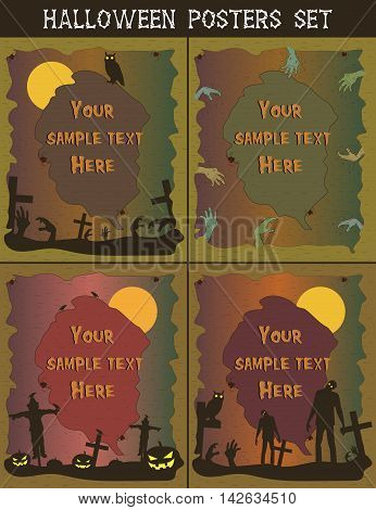 Halloween posters set. Invitation templates for Halloween Party. Halloween background. Vector illustration
