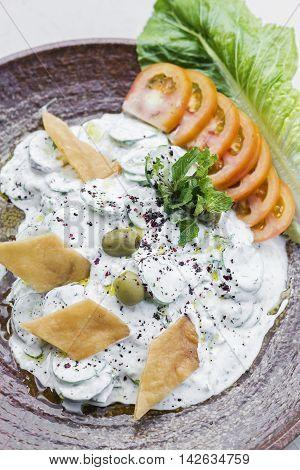 laban fresh yoghurt cucumber middle eastern lebanese dip snack starter food