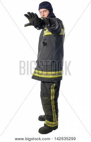 firefighter forbids passage further, on a white background