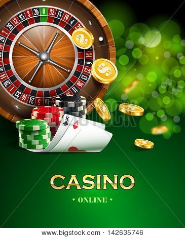Casino background with golden coins, cards, roulette and chips.