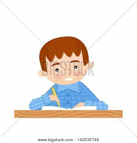 Schoolchild writes in a notebook. School background