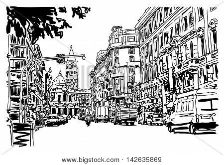 Architecture Drawing Cars original black and white urban architectural sketch drawing of