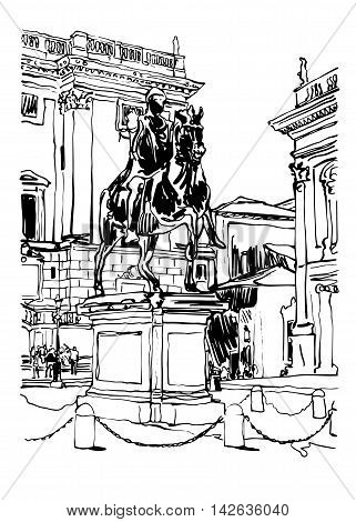 black and white sketch digital drawing of Rome Italy cityscape with sculpture equestrian statue and historical building, vector illustration