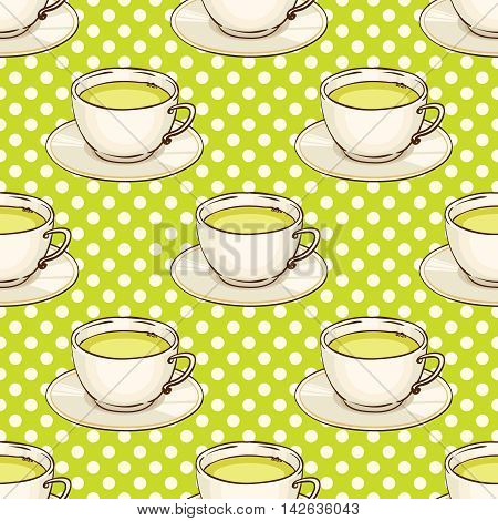 Cups of green tea with saucer. Vector hand drawn illustration. Tileable spotted seamless pattern