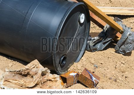 industrial waste on the ground under the scorching sun
