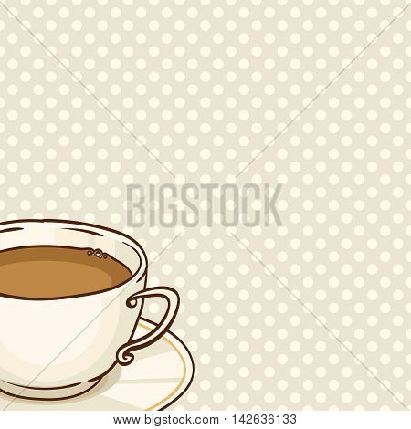 Cup of coffee or black tea with saucer. Vector hand drawn illustration. Spotted seamless pattern on background