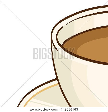 Cup of coffee or black tea with saucer. Vector hand drawn illustration, isolated on white