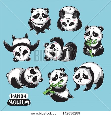Set vector illustrations isolated character cartoon pandas