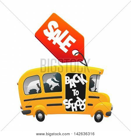 the bus ride back to school with the label sale isolated