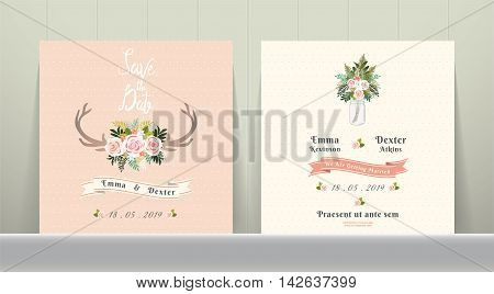 Antler flowers rustic wedding save the date invitation card on Wood Background