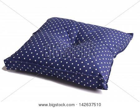 Polka dot blue seat cushion isolated on white background