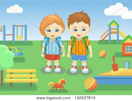 school children on a playground outdoors with bright summer background