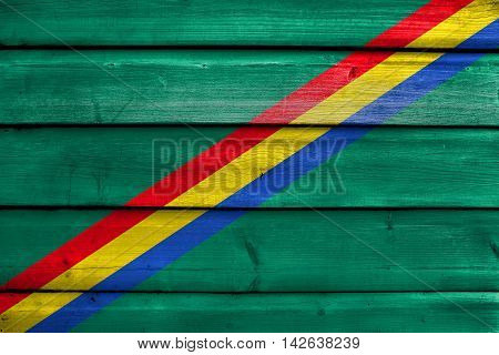 Flag Of Drochia, Moldova, Painted On Old Wood Plank Background