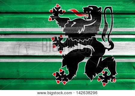 Flag Of East Flanders Province, Belgium, Painted On Old Wood Plank Background