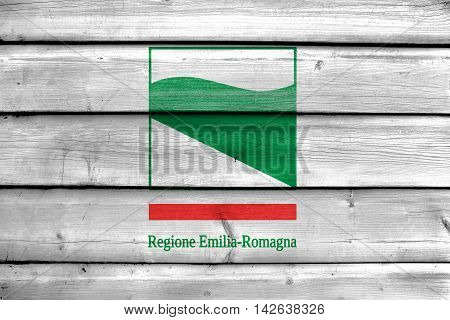 Flag Of Emilia-romagna, Italy, Painted On Old Wood Plank Background