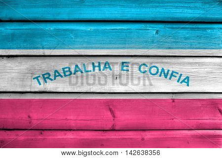 Flag Of Espirito Santo State, Brazil, Painted On Old Wood Plank Background