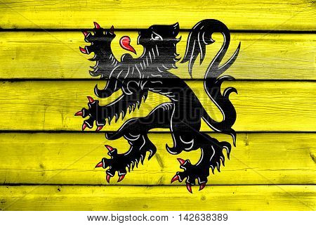 Flag Of Flanders, Belgium, Painted On Old Wood Plank Background
