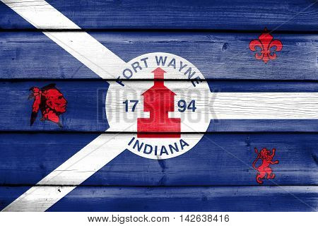 Flag Of Fort Wayne, Indiana, Usa, Painted On Old Wood Plank Background