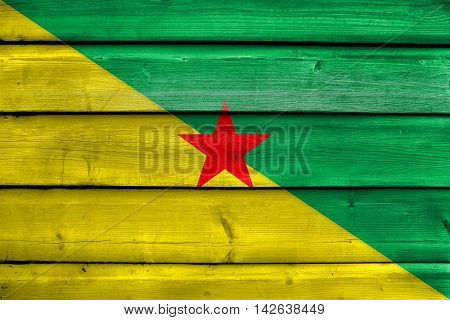 Flag Of French Guiana, France, Painted On Old Wood Plank Background
