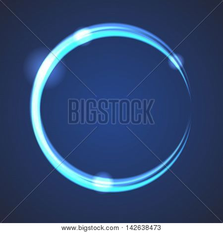 Glow effect eclipse circle vector. Neon light blue rings on dark gradient background. Abstract round object.