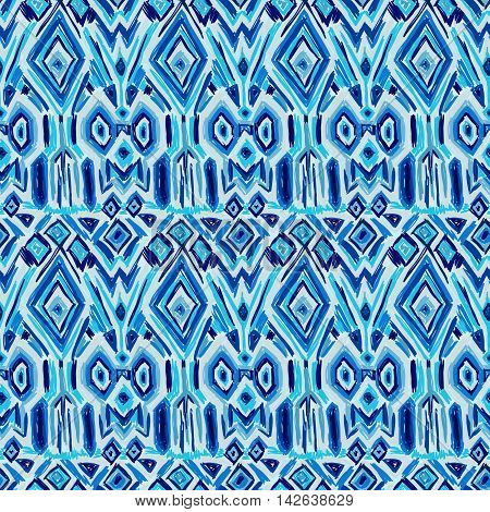 Ikat Tribal Pattern Shibori Ethnic Fabric Blue