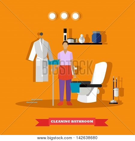 Cleaning service concept vector illustration. Woman cleaning house bathroom.
