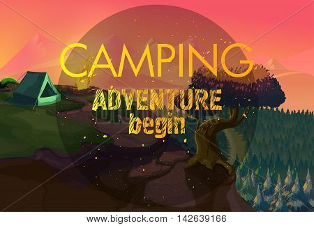 Camping adventure time vector illustration, for your application , project.