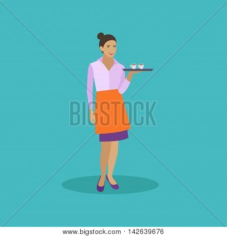 Waitress holds a tray with coffee cups. Cafe concept vector illustration in flat style design.
