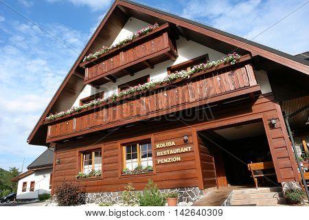 Smokovec HIGH TATRAS SLOVAKIA - JULY 08 2016: Slovakian restaurant and penzion Koliba in Smokovec resort High Tatras Slovakia.