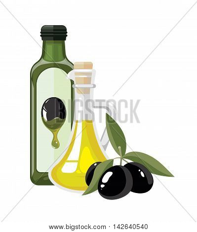 vector illustration of two bottles with olive oil and three black olives with leaf. Composition for your personal design project isolate on white background. pictures tamplate for cover of magazin.