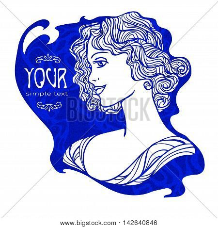 Art Nouveau styled of pretty young woman in profile view for barbershop cosmetics store or beauty salon. Vector illustration.