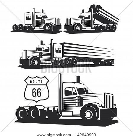Classic heavy truck illustration isolated on white background. Truck with trailer and tip truck. Vector illustration.