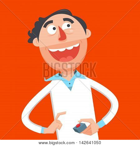 Happy scientist press red button flat style. Guy with smile. Cartoon colorful vector illustration
