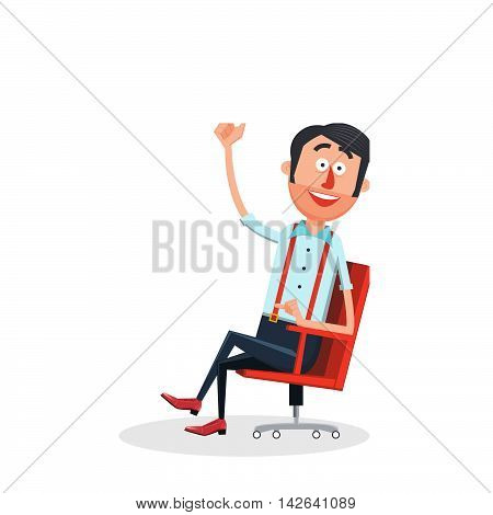 Happy man with new idea flat style. Guy with smile. Cartoon colorful vector illustration