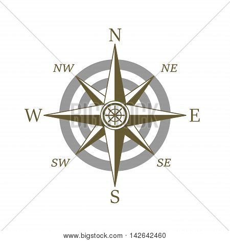 Compass icon wind rose placed on white