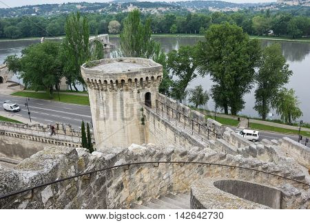 Top view on fortress and Rhone river in Avignon France