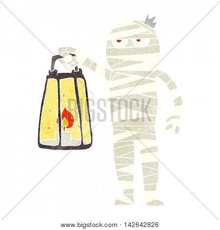 freehand retro cartoon mummy