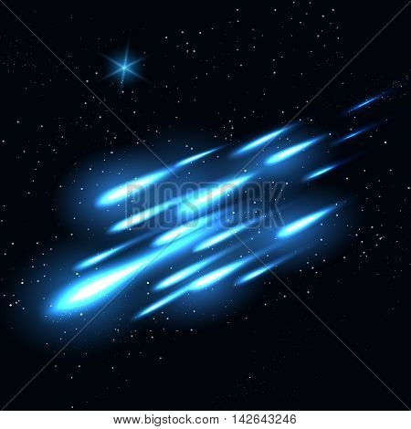 Starry night sky background. Vibrant falling space stars vector illustration