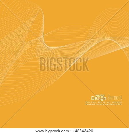 Abstract techno background with lines in waves. Flow popular form vector. Futuristic high tech design for scientific cover book, brochure, flyer, poster, magazine, website. yellow